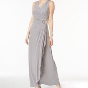 Calvin Klein Embellished A-Line Gown Tin Dress
